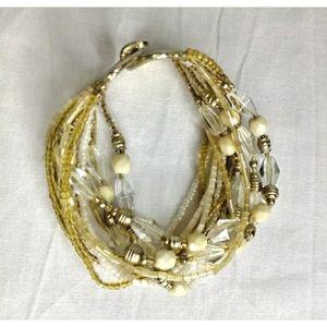 Multi Strand Gold/Wht/Clear/Cream Beaded Bracelet